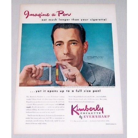 1948 Eversharp Kimberly Pen Color Print Ad Celebrity Humphrey Bogart