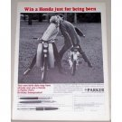 1965 Parker Pens Print Ad with Honda C-110 CA-102 Motorcycles