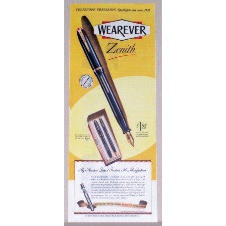 1945 Wearever Zenith Fountain Pen Color Print Ad