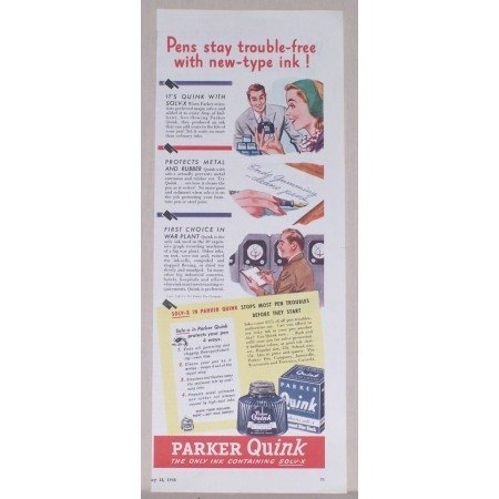 1945 Parker Quink Pen Ink Color Print Ad