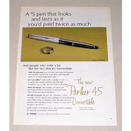 1963 Parker 45 Convertible Fountain Pen Color Print Ad