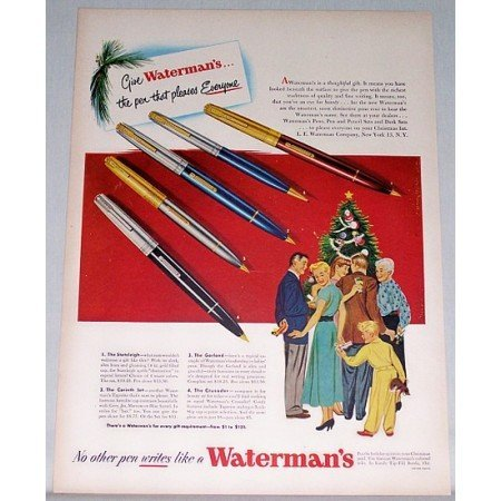 1948 Watermans Fountain Pens Color Print Ad