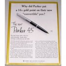 1961 Parker 45 Convertible Pen Color Print Ad