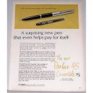 1962 Parker 45 Convertible Fountain Pen Color Print Ad