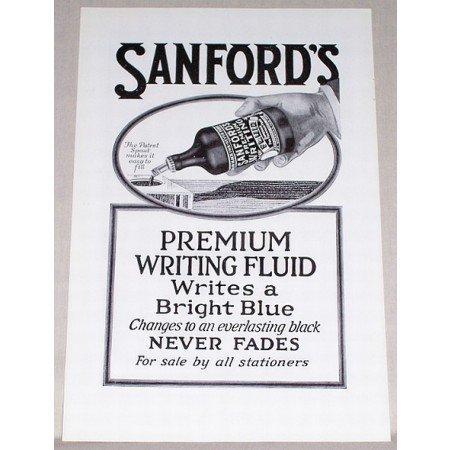 1919 Sanford's Premium Writing Fluid Print Ad