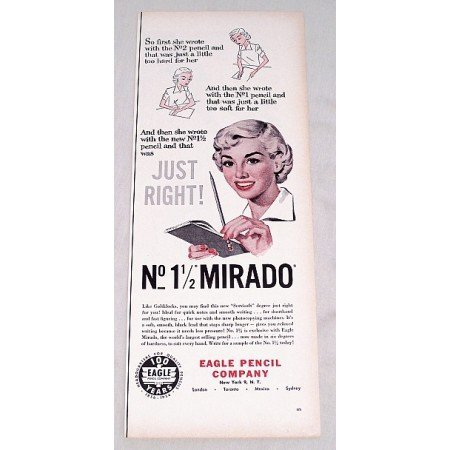 1956 Eagle No 1½ Mirado Pencil Print Ad