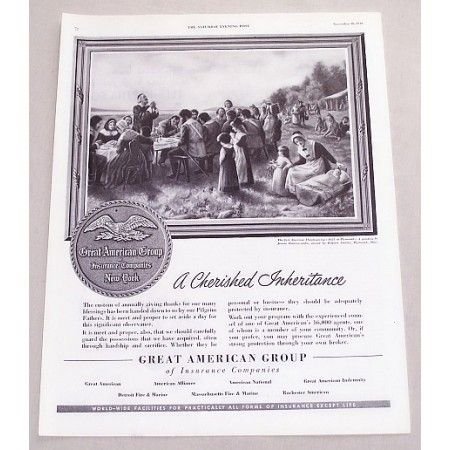 1949 Great American Group Insurance Thanksgiving Print Ad