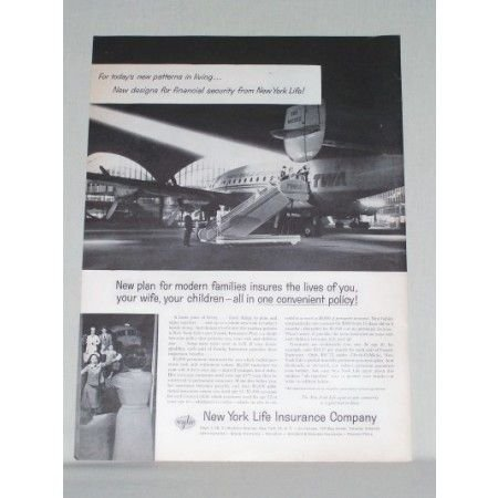 1958 New York Life Insurance TWA Airlines Jet Print Ad