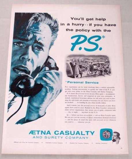 1955 Aetna Casualty Surety Insurance Print Ad