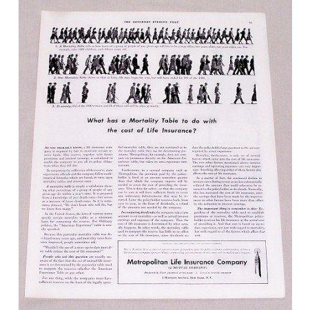 1940 Metropolitan Life Insurance Print Ad - Mortality Table