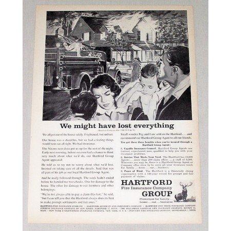 1959 Hartford Group Insurance Fire Fighter Art Print Ad