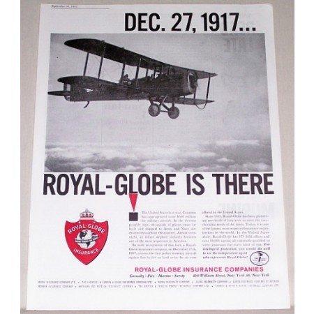 1961 Royal Globe Insurance Company Aircraft Double Wing Plane Insurance Print Ad