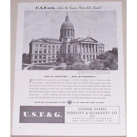 1945 United States Fidelity Guaranty Company Georgia State Capital Print Ad