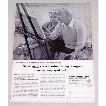 1956 New York Life Insurance Print Ad - Make Living Longer