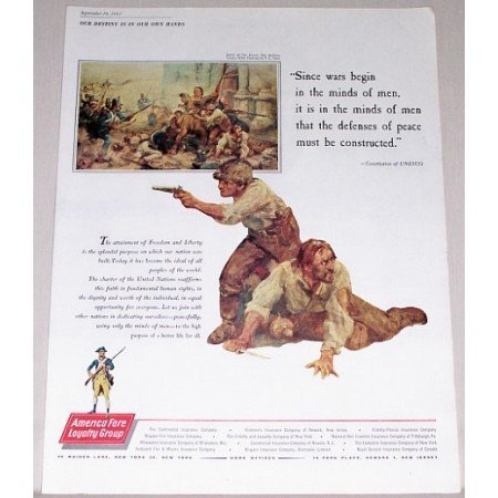 1961 America Fore Loyalty Group Alamo Yohn Art Color Print Ad
