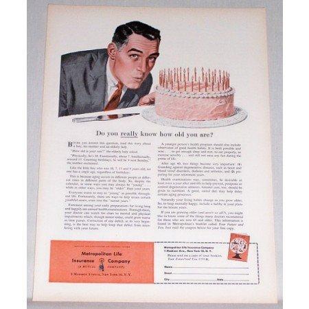 1955 Metropolitan Life Insurance Company Birthday Cake Art Color Print Ad