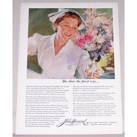 1954 John Hancock Life Insurance Spreler Art Nursing Color Print Ad