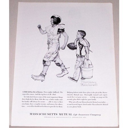 1961 Massachusetts Mutual Insurance Football Norman Rockwell Sketch Art Print Ad