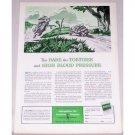 1953 Metropolitan Life Insurance Rabbit Turtle Art Print Ad Ad - Hair Tortoise High Blood Pressure