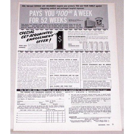 1961 Service Life Insurance Company Print Ad