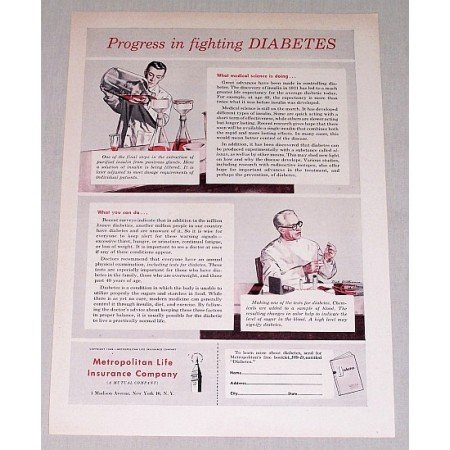 1949 Metropolitan Life Insurance Print Ad - Fighting Diabetes