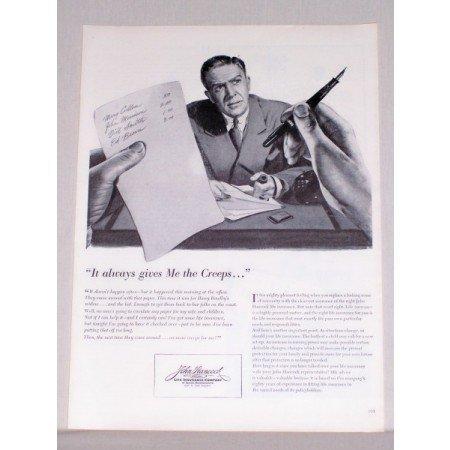 1944 John Hancock Insurance Art Print Ad - Gives Me The Creeps