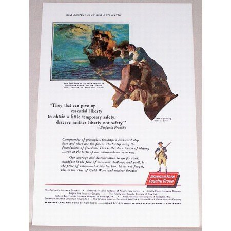 1961 American Fore Loyalty Insurance Fisher Art Color Print Ad