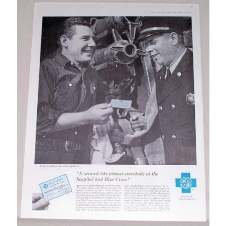 1958 Blue Cross Insurance Card Print Ad