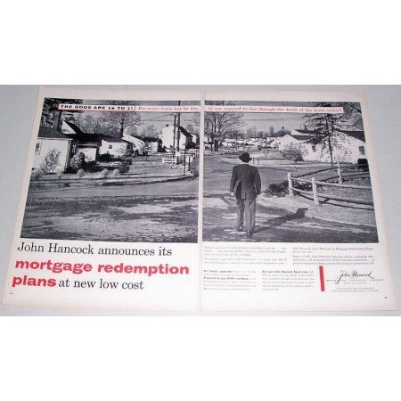 1955 John Hancock Mutual Life Insurance 2 Page Print Ad