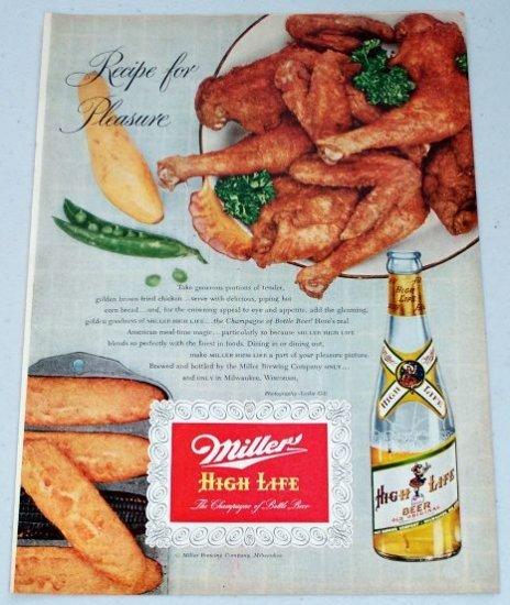1953 Miller High Life Beer Vintage Color Brewery Print Ad