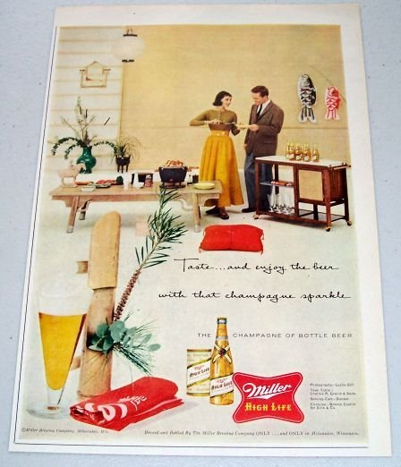 1957 Miller High Life Beer Color Print Ad TASTE AND ENJOY