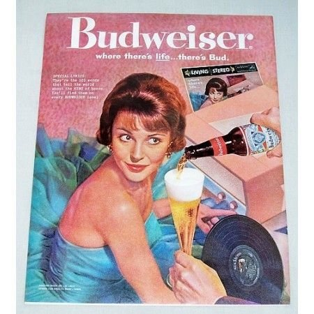 1962 Budweiser Beer Music Record Player Color Print Ad - Special Lyrics