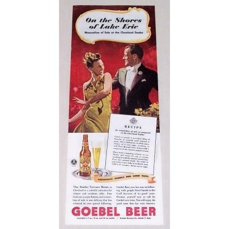 1944 Goebel Beer Color Brewery Print Ad - On The Shores Of Lake Erie