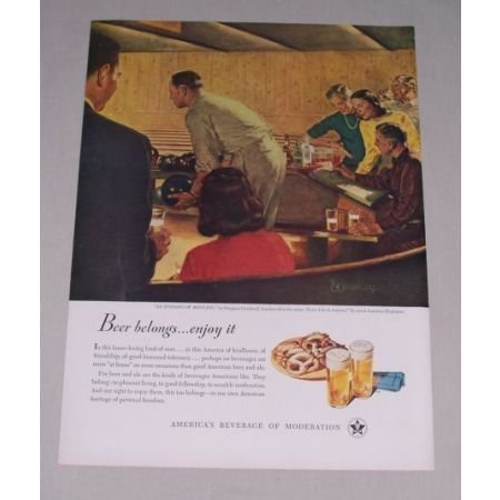 1949 Beer Belongs Series #26 Color Print Ad - An Evening of Bowling