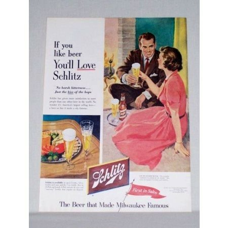 1953 Schlitz Beer Color Print Ad - Kiss Of The Hops