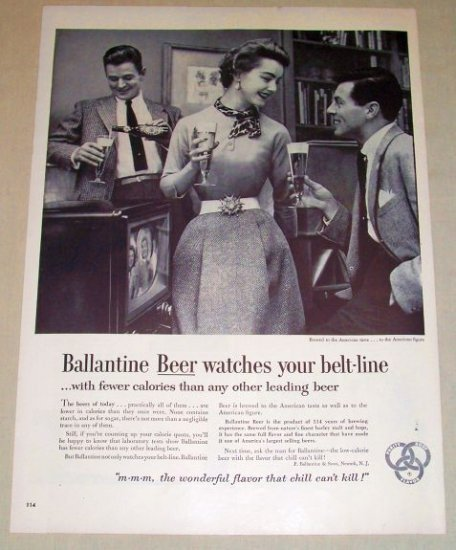 1954 Ballantine Beer Print Ad - Watches Belt-line