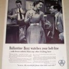 1954 Ballantine Beer Print Ad - Watches Belt-line