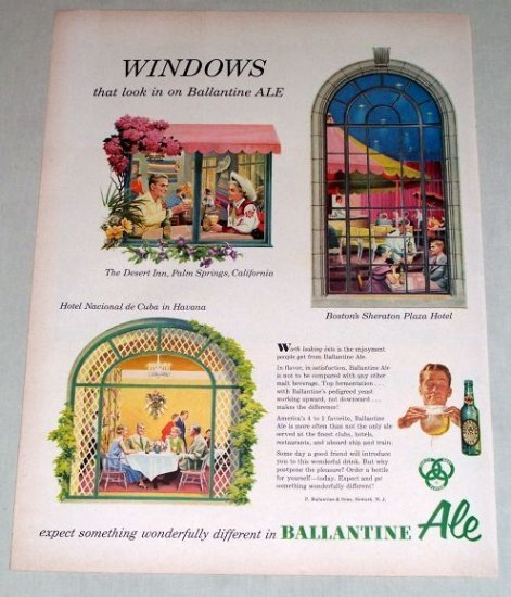 1953 Ballantine Ale Beer Color Print Ad - Windows That Look In