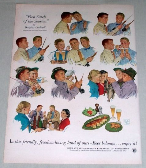 1953 Beer Belongs #80 First Catch Fish Crockwell Art Color Print Ad