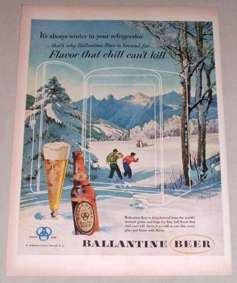 1953 Ballantine Beer Winter John Clymer Art Color Print Ad