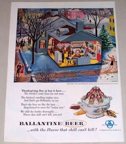1953 Ballantine Beer Lucile Cross Thanksgiving Color Print Ad