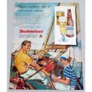 1949 Budweiser Beer Sailboat Sailing Color Art Print Ad