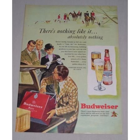 1949 Budweiser Bud Beer Cooler Horses Color Art Print Ad