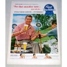 1950 Pabst Blue Ribbon Beer Color Print Ad Archery Champ Larry Hughes
