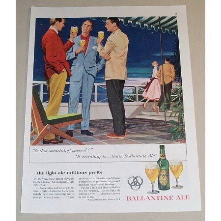 1954 Ballantine Ale Nightlife Art Color Print Ad