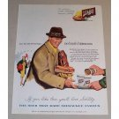 1954 Schlitz Beer Color Art Print Ad - Hot Dogs at Football Game