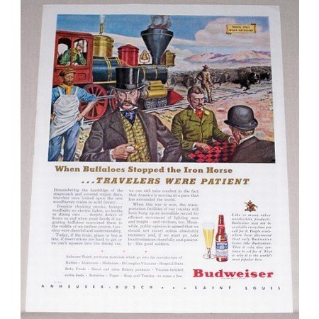 1944 Budweiser Beer Railroad Art Color Print Ad - Buffaloes Stopped Iron Horse