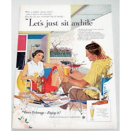 1956 Beer Belongs Color Art Print Ad - Let's Just Sit Awhile