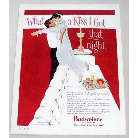 1956 Budweiser Beer Color Art Print Ad - What A Kiss I Got