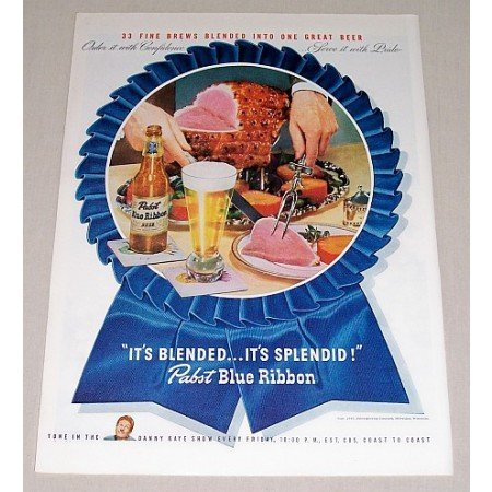 1946 Pabst Blue Ribbon Beer Ham Dinner Color Print Ad